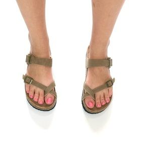 Shoes - Soft Vegan Leather Birk Style Sandals New Taupe